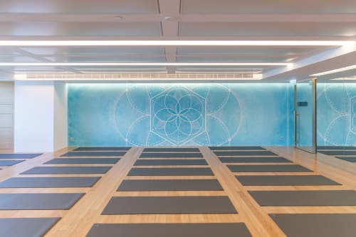 Murals by Urbanheart seen at Pure Yoga Grand Century Place - Seed of Life Sacred Geometry Mandala Mural
