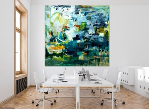 Paintings by Marie Manon Art seen at Private Residence, Calgary - Yellow Garden Painting