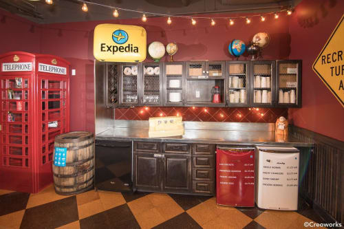 Furniture by Creoworks seen at Expedia Group, Bellevue - Cabinetry and Wine Barrel