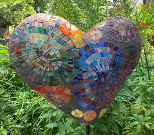 Public Sculptures by Beth Klingher seen at Park Hill Orchard, Easthampton - Mosaic Heart