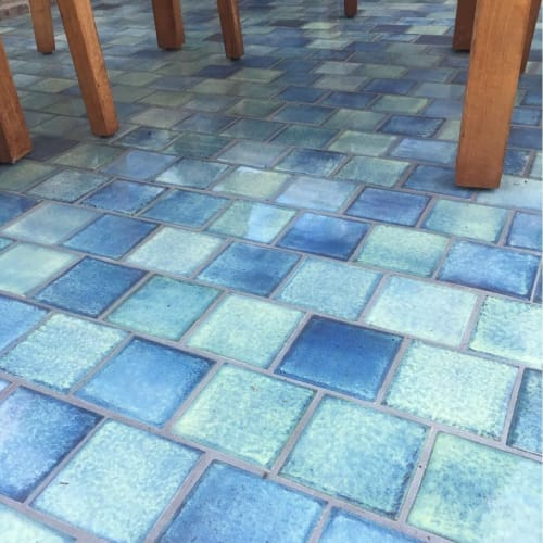 Tiles by Bantam Tileworks seen at Private Residence, Minneapolis - Handmade Blue Tile