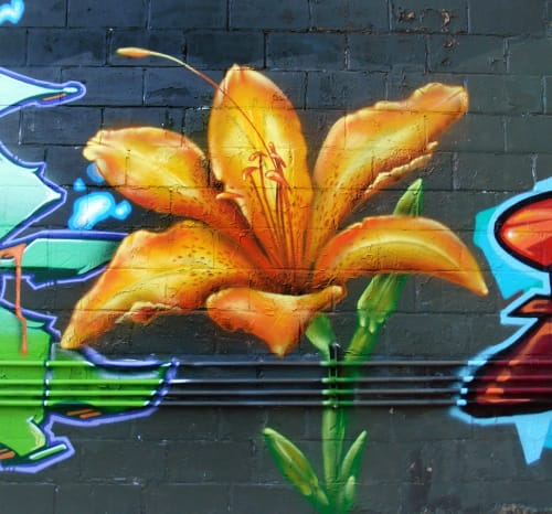 Street Murals by Jared Goulette | The Color Wizard seen at Pleasant Street, Portland - The Bakery Studios Mural Garden - exterior Murals