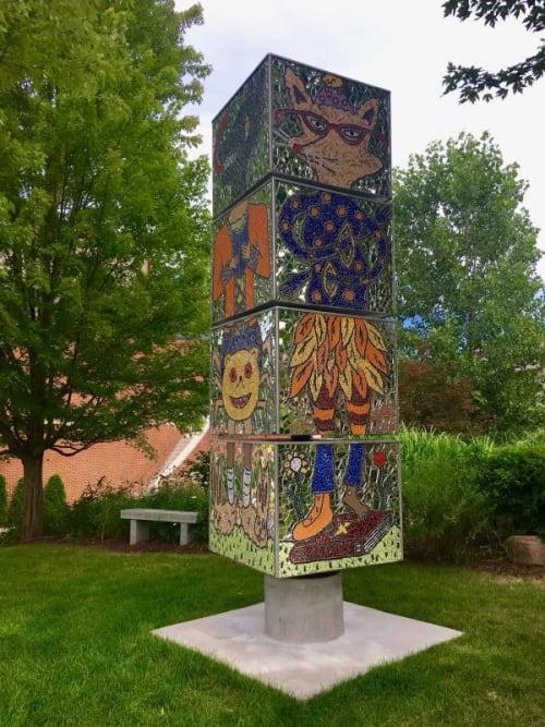Public Sculptures by Laura Jean Mclaughlin seen at Fox Chapel Area High School, Pittsburgh - Fox Chapel High School Exquisite Corpse Sculpture