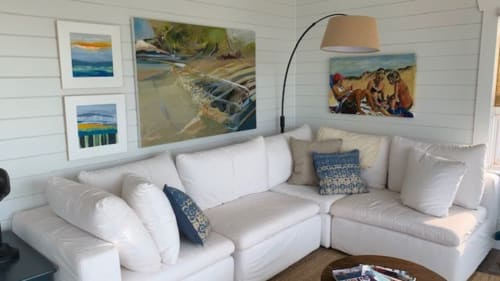 Paintings by Julea Boswell Art Studio seen at Private Residence - Floating Sky (top left) and Wharf (bottom left)