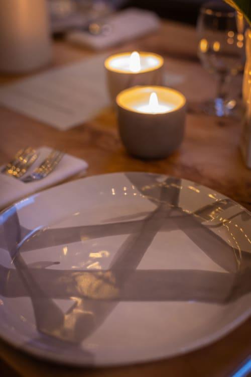 Slim dinner plate in gloss grey abstract stripe | Ceramic Plates by Alex Marshall Studios | Alex Marshall Studios in Chico