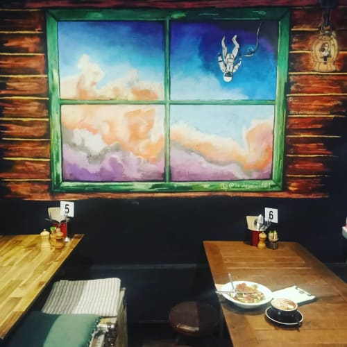 Murals by Sarah Rowan seen at Chalk Espresso Cafe, Maroubra - Cafe Mural