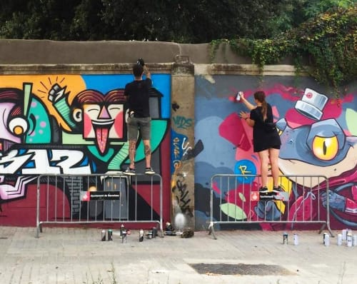 Street Murals by PALLADIN seen at Barcelona, Barcelona - Colorful Mural