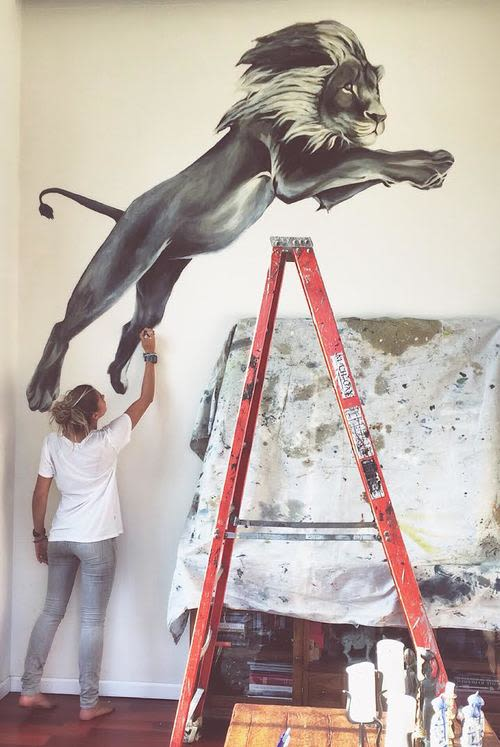 Murals by Charly Malpass Art seen at Private Residence, New York - Simba