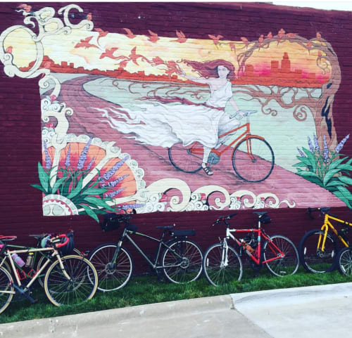 Murals by Cait Irwin seen at 6015 Maple St, Omaha - Bicycle Shop Mural