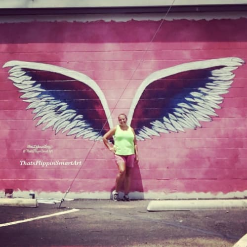 "Street Murals by Sheri Johnson-Lopez seen at 4800 Bryan St, Dallas - ""Fly Away"" Angel Wings & Balloons"