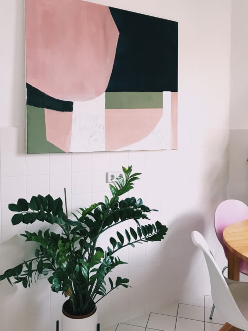Paintings by Jilli Darling seen at Private Residence, Berlin - Untitled in Pink. Original painting 100x120cm