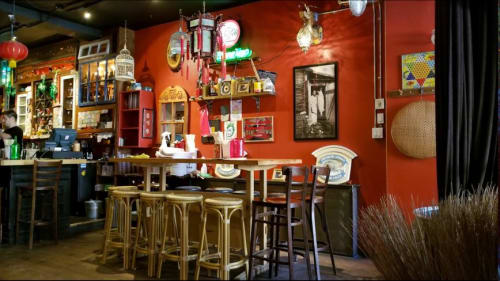 Tables by Noah Soroka seen at Satay Brothers, Montréal - White Oak bars and table tops