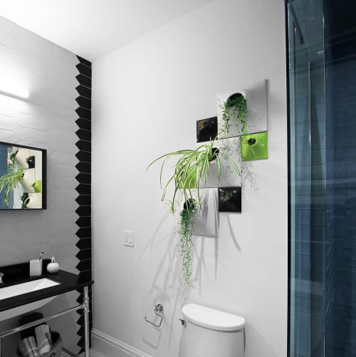 Modern Shower - Ceramic Wall Planter Configuration | Vases & Vessels by Pandemic Design Studio | New York in New York