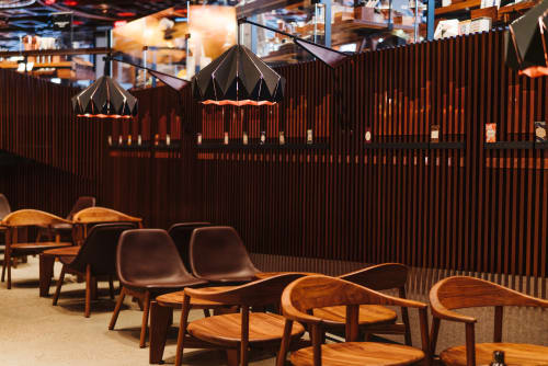 Pendants by Studio Snowpuppe seen at Starbucks Reserve Roastery, New York - Chestnut origami lamp in metal