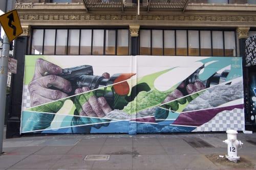 Murals by RATUR (Arthur Maslard) seen at 1AM SF, San Francisco - Tourist