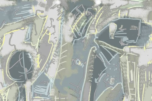 Wallpaper by MM Digital Designs Ltd. seen at Private Residence, Port Jefferson - City Noise Wallpaper