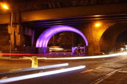 Public Sculptures by Stallard Sculptures seen at Bushey Arches Bridge, Watford - Ghost Train