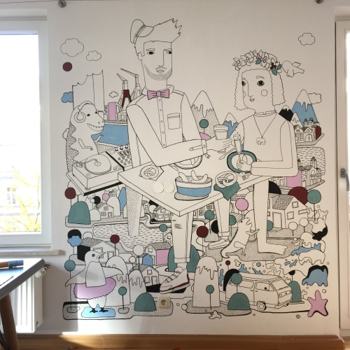 Murals by Emma Rytoft seen at Private Residence, Munich - Bavarian Breakfast