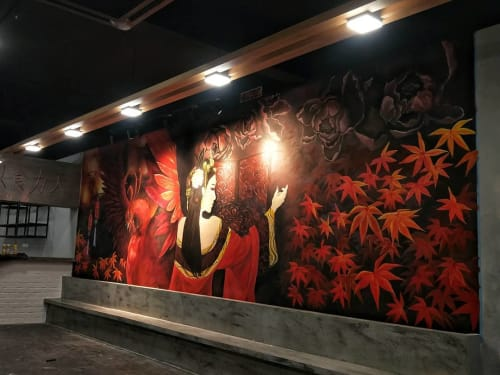 Murals by TWO ART 贰·畫咖 seen at Taman Mount Austin, Johor Bahru - Fiery Red Chinese Ancient Mural
