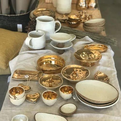 Gold Glaze Dinnerware   Ceramic Plates by Melissa Lellouche