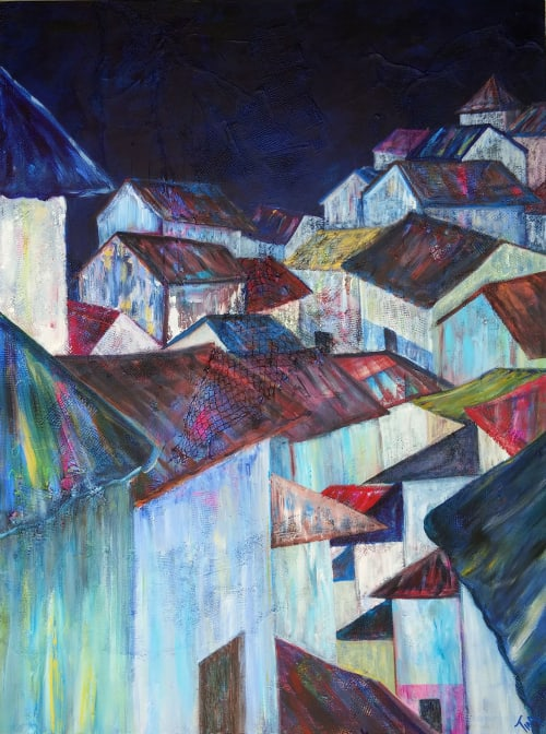 Paintings by Tina Alberni. Color by Design Studio seen at Charlotte, Charlotte - Modern Rooftops: Old San Juan Shanty Town