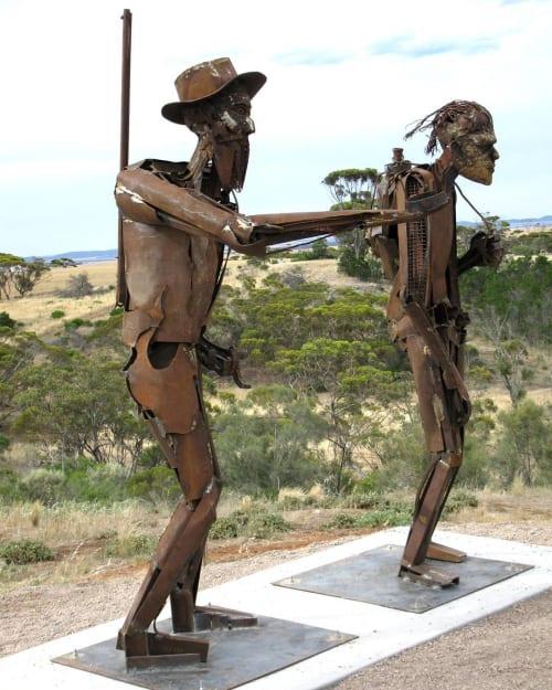 Public Sculptures by Roland John Weight seen at Edward John Eyre Sculptures, Kimba - Edward John Eyre & Wylie