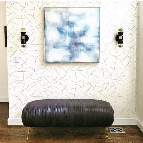 Wallpaper by Juju Papers seen at Private Residence, Atlanta - Pavlova - Gunmetal On Cream