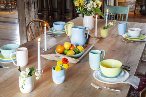 Ceramic Plates by Off Your Rocker Pottery seen at Private Residence, Lake Geneva - Full Dish sets in white clay