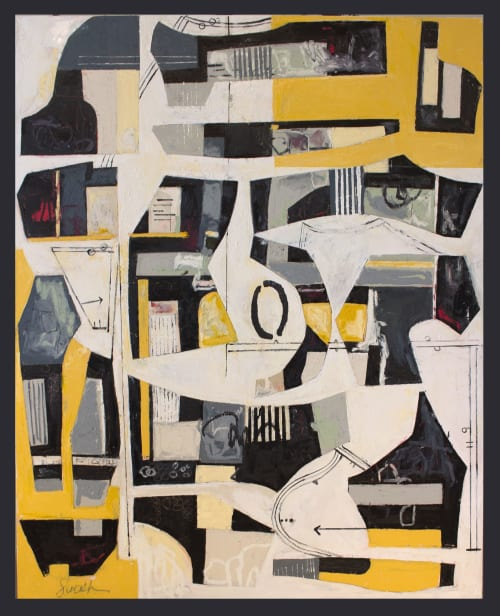 Paintings by Susan Washington Fine Art seen at Private Residence - Deconstructed Yellow