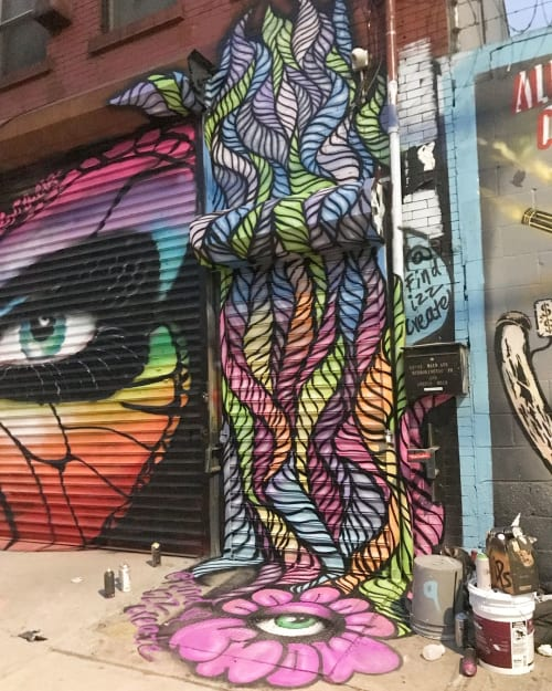Murals by Isabelle Ewing seen at Welling Court Mural Project, Queens - Mural