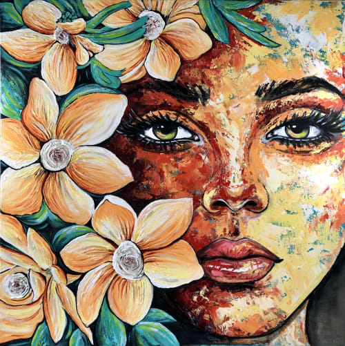 Paintings by Expression By Nada seen at Private Residence, Calgary - Original painting, mixed media on canvas, beautiful female portrait flowers
