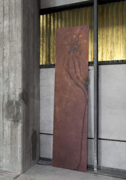 Paintings by Mikkel Carl seen at The Plant Cph, København - Oxidized faux copper panels