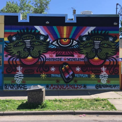 Street Murals by BLACK DAZE seen at Chicago Ave S & 33rd St E, Minneapolis - Mural