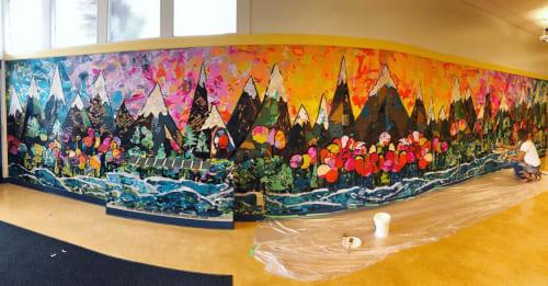 Murals by Paintillio seen at Trafalgar Elementary School, Vancouver - Collaborative Mural