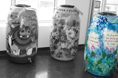 Vases & Vessels by Judith Joseph seen at Chicago Botanic Garden, Glencoe - Embellished Rain Barrels