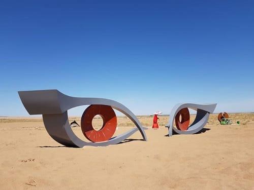 Public Sculptures by Simona De Lorenzo seen at Minqin, Wuwei - A look to the Horizon
