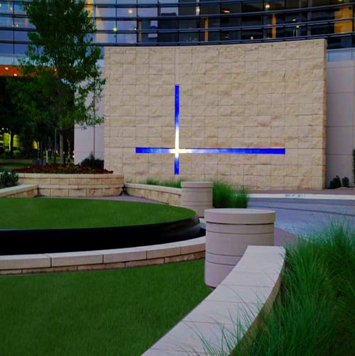 "Sculptures by Walter Gordinier seen at Baylor University Medical Center, Dallas - ""Cross Over"" , 190ft. long+ 90ft. tall"