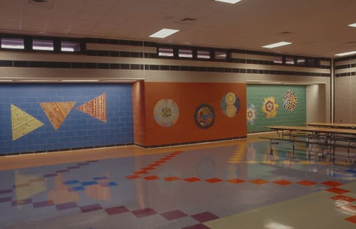 Murals by Susan Tunick seen at Public School 222, Jackson Heights, NY, Queens - THREE xTHREE xTHREE