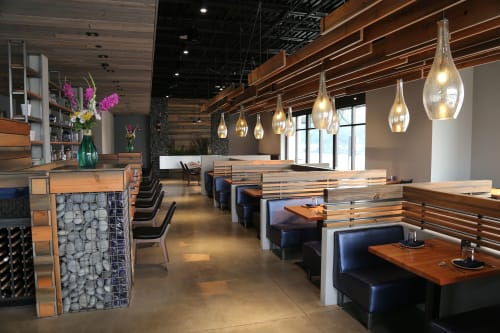 Tables by Urban Lumber Co. seen at Blu Mist Restaurant and Bar, Eugene - Furniture & Fixtures