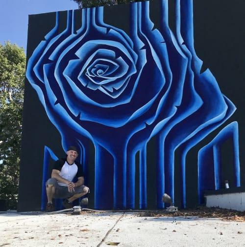 Street Murals by Gus Harper seen at Silver Lake, Los Angeles, Los Angeles - Blue Rose Striped Mural