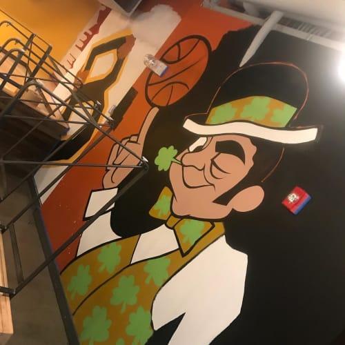Murals by Merk Aveli seen at Flatbread Company Brighton, Boston - Flatbread Company Brighton Mural