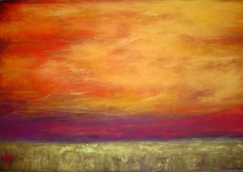 Paintings by Julie Hansen seen at H&R Block World Headquarters, Kansas City - Longing