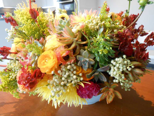 Floral Arrangements by Nora Petersen Studio seen at Private Residence, Los Angeles - Large Arrangement in Robin's Egg Blue Ceramic Bowl