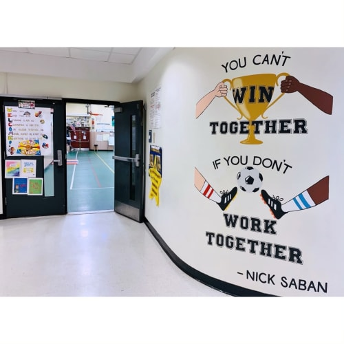 Murals by Two Brushes seen at Head O'Meadow Elementary School, Newtown - You can't WIN together, if you don't WORK together