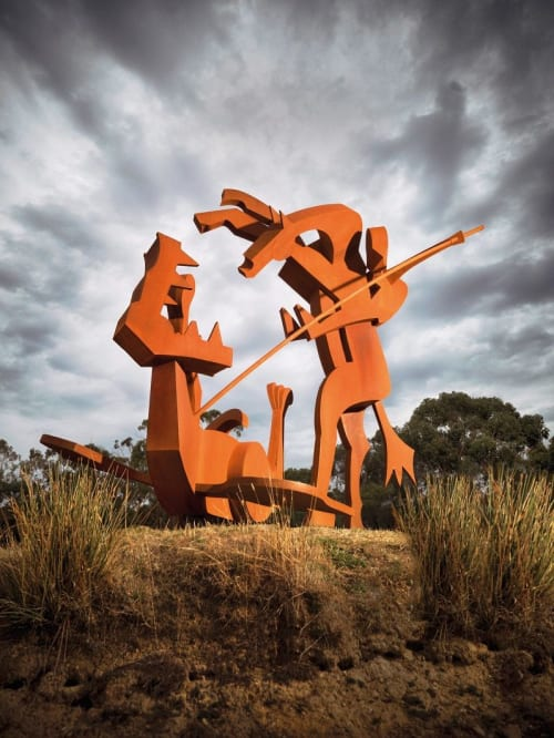 Sculptures by Jimmy Rix seen at Private Residence, Daylesford - St George and the dragon 3