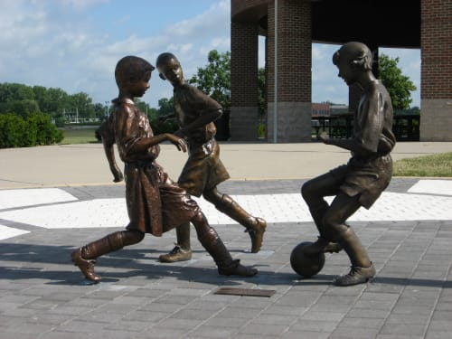 """Public Sculptures by Tizzano Sculpture LLC seen at Westerville, Westerville - """"The Chase"""""""