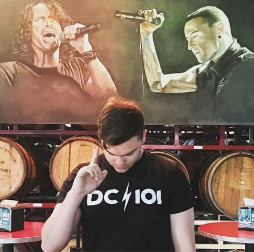 Murals by Chalkoholic seen at Lost Rhino Brewing Co, Ashburn - Chalk art mural~Chris Cornell and Chester Bennington