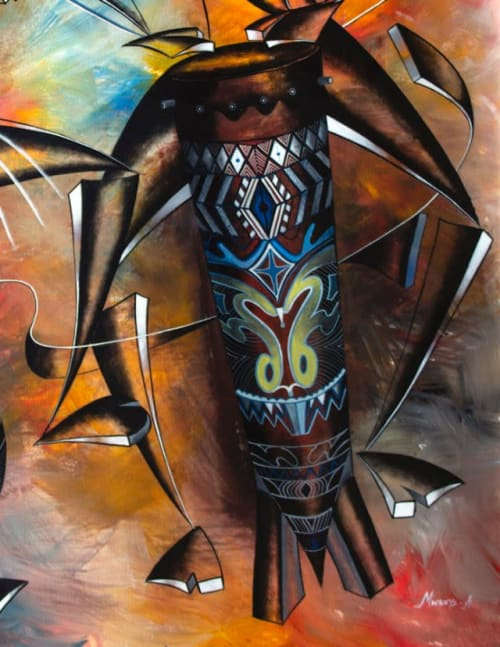 Paintings by Mwenye painter seen at Private Residence, Worcester - Mdundiko