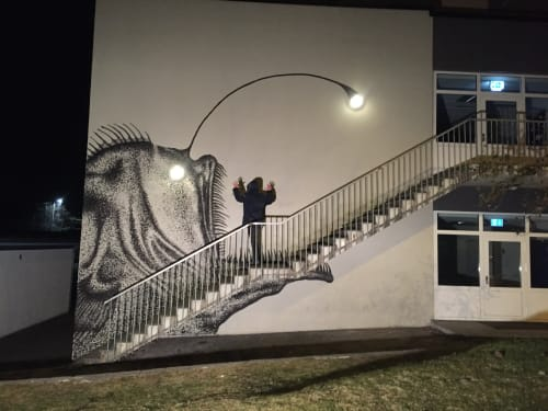 Murals by SKURK seen at Bergen, Bergen - The Fish