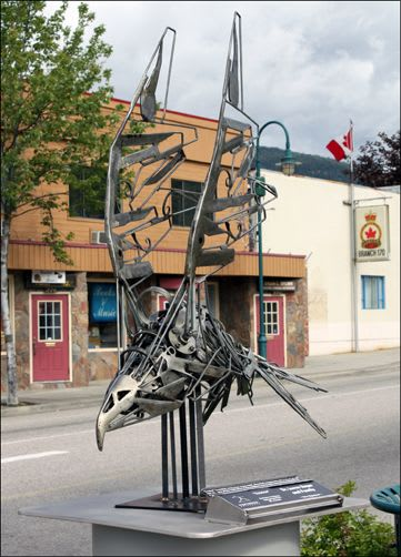Public Sculptures by Carl Sean McMahon seen at Stanley Humphries Secondary School, Castlegar - Exodus